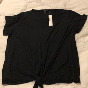 NWT JCrew 100% viscose black front tie top